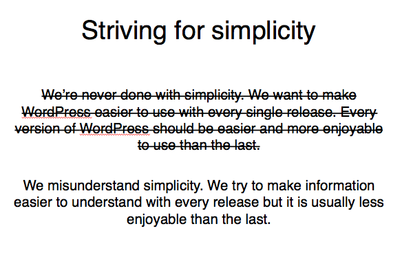 Image of WordPress philosophy with strikethrough