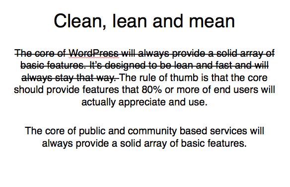 Image of WordPress philosophy with strikethrough